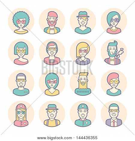 Creative set of round avatars for social media or web site. Trendy profile icons collection. Black and white characters: guys girls. Contours outlines and lines. Flat vector stock.