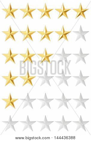 Stars rating isolated on white background 3D rendering
