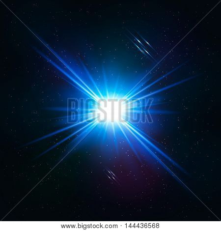 Vector illustration shining glowing blue space star