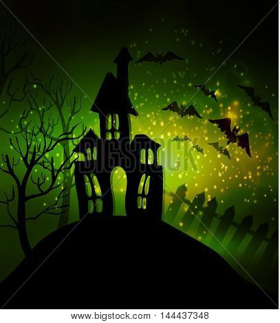 Halloween haunted house with bats and fence and trees