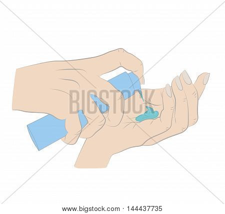 emale hand with tube of the body cream isolated on white background. Bodycare concept. vector illustration