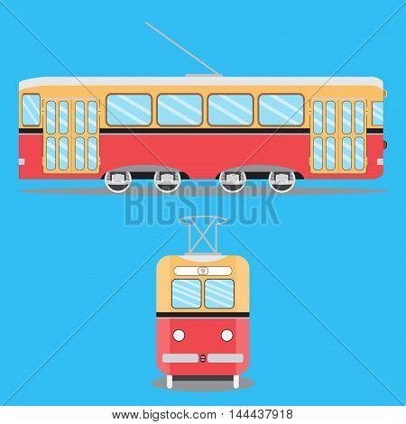 Retro tram flat. Train on tramway metro and old tram tram isolated on blue background