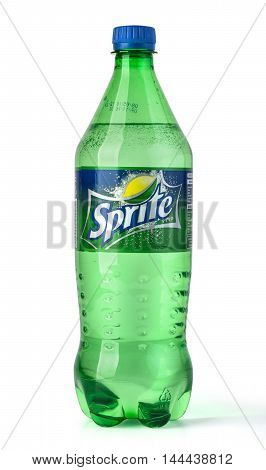 Chisinau Moldova - June 11 2016: bottle of coca-cola company soft drink Sprite on white background product shot