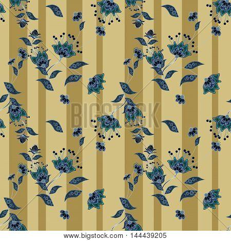 Seamless floral pattern background blue flowers ornament wallpaper textile Illustration