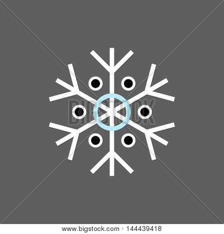 White blue black winter snowflake on grey background. End of year christmas and sale season.