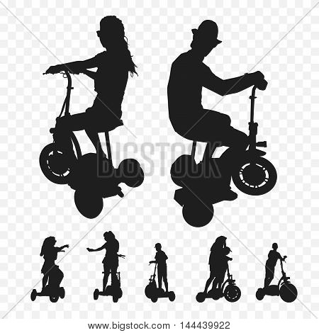 three-wheeled electric transport. Elektrosamokat tricycle. Silhouettes of people on tricycle electric bicycles.