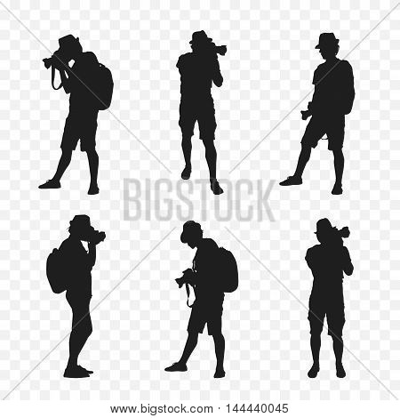 Silhouette of a tourist with a camera