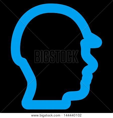 Builder Head vector icon. Style is contour flat icon symbol, blue color, black background.