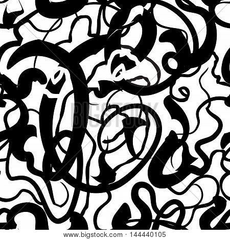 Vector Seamless Pattern - Set Of Monochrome Chaotic Lines.abstract Geometric Stylish Simple Black An
