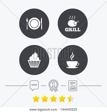 Food and drink icons. Muffin cupcake symbol. Plate dish with fork and knife sign. Hot coffee cup. Chat, award medal and report linear icons. Star vote ranking. Vector