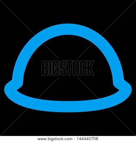 Hardhat vector icon. Style is linear flat icon symbol, blue color, black background.