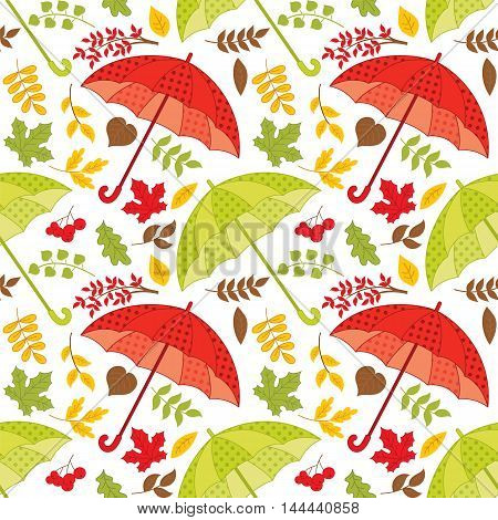Vector seamless pattern with umbrellas, autumn leaves and berries