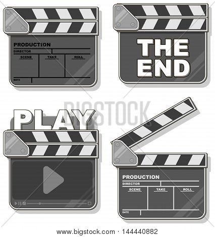 A vector illustration of Movie black clapper boards set
