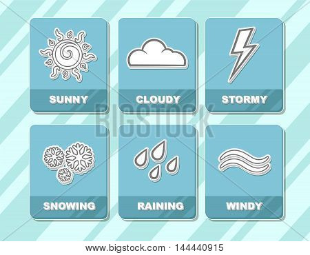 A vector illustration of Weather forecast white icons in blue squares