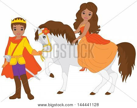 Vector African American beautiful princess on white horse with prince