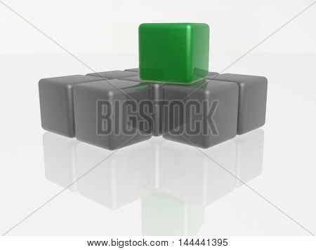 Green and grey cubes as abstract background, 3D illustration.