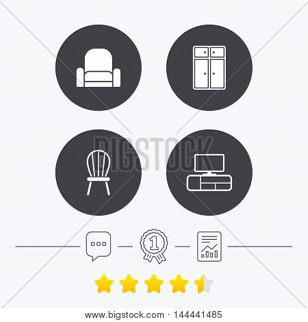 Furniture icons. Cupboard, chair and TV table signs. Modern armchair symbol. Chat, award medal and report linear icons. Star vote ranking. Vector