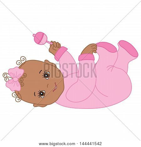 Vector African American cute baby girl with rattle