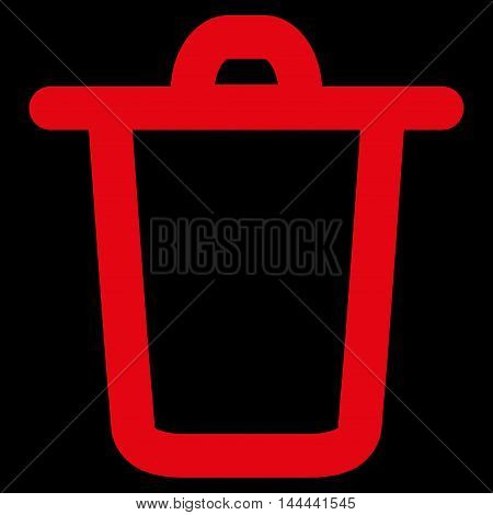 Bucket vector icon. Style is outline flat icon symbol, red color, black background.