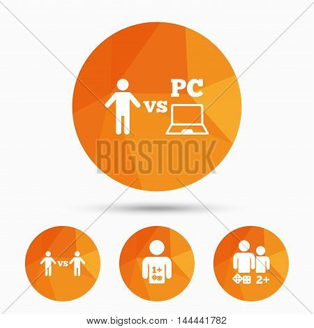 Gamer icons. Board and PC games players signs. Player vs PC symbol. Triangular low poly buttons with shadow. Vector