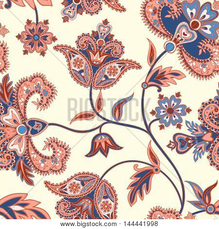 Floral  Pattern. Flourish Retro Background. Branch With Fantastic Flowers, Leaves And Berries. Wonde