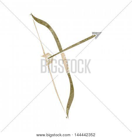 freehand drawn retro cartoon bow and arrow