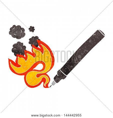 freehand drawn retro cartoon flaming pen