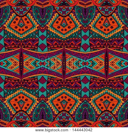 ethnic striped fashion pattern for fabric. Abstract geometric mosaic vintage seamless pattern ornamental.