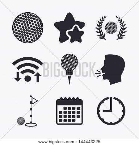 Golf ball icons. Laurel wreath winner award sign. Luxury sport symbol. Wifi internet, favorite stars, calendar and clock. Talking head. Vector