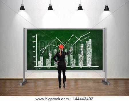 Engineer woman drawing stock chart on chalk board