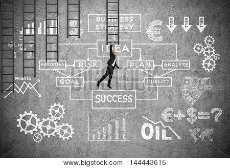 Businessman Hanging On Black Ladder