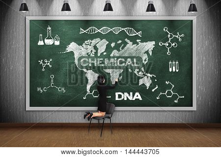 Woman Drawing Chemical Concept
