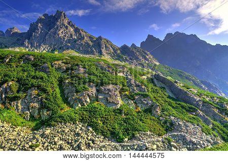 Summer mountain landscape. Beautiful rocky peaks in High Tatra Slovakia.