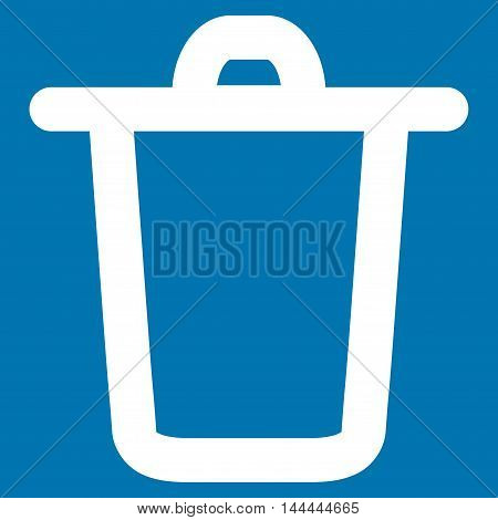 Bucket vector icon. Style is outline flat icon symbol, white color, blue background.