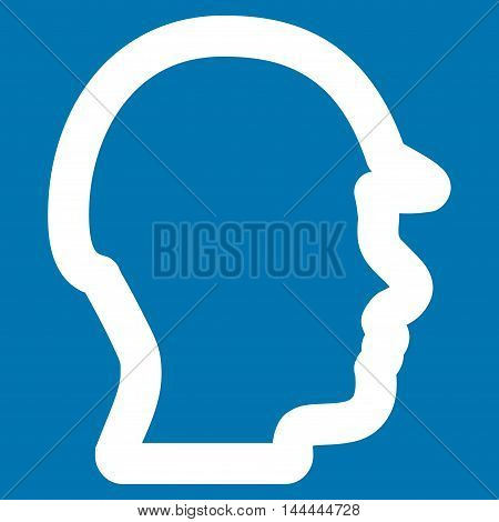 Builder Head vector icon. Style is stroke flat icon symbol, white color, blue background.