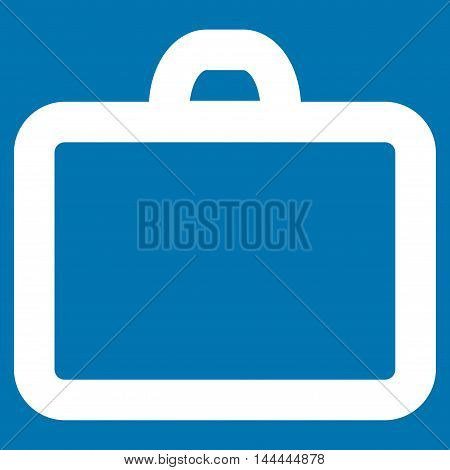 Case vector icon. Style is outline flat icon symbol, white color, blue background.