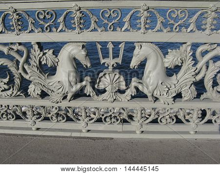 Fragment of the fence of the Annunciation bridge. Blagoveshchensky bridge. Monument of architecture. Saint Petersburg. Russia.