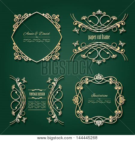 Luxury golden frames and labels set. For invitations banners and cards.