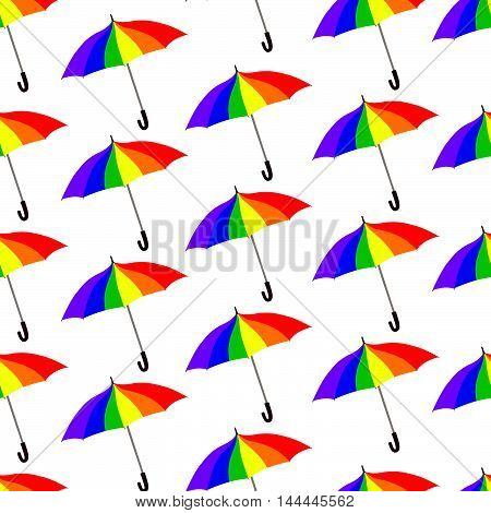 Umbrella pattern. Rainbow colored parasol seamless ornament. Lgbt community background
