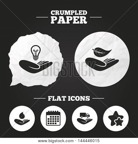 Crumpled paper speech bubble. Helping hands icons. Intellectual property insurance symbol. Delivery truck sign. Save nature leaf and water drop. Paper button. Vector