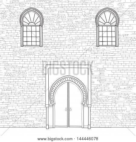 Door Way Background In Moslem Style. Front Door Oriental House Facade. Encient Arabic Building  Faca