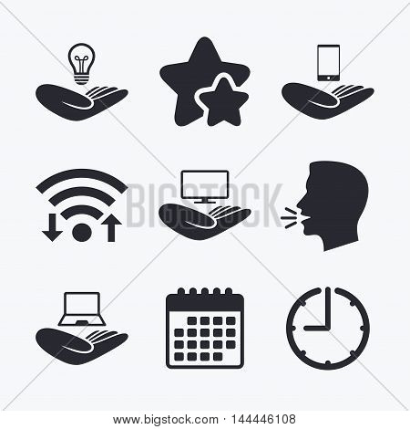 Helping hands icons. Intellectual property insurance symbol. Smartphone, TV monitor and pc notebook sign. Device protection. Wifi internet, favorite stars, calendar and clock. Talking head. Vector