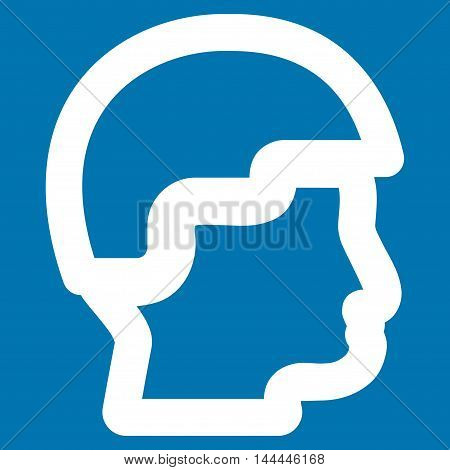 Sergeant Head vector icon. Style is linear flat icon symbol, white color, blue background.