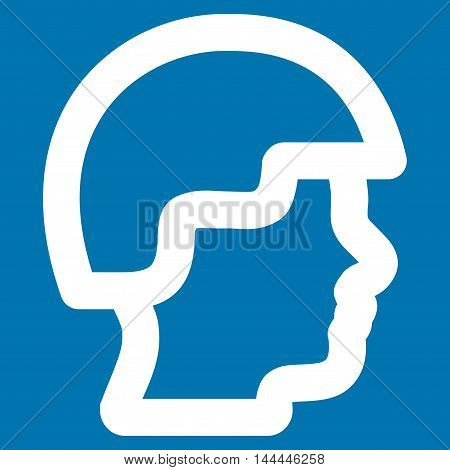 Soldier Head vector icon. Style is linear flat icon symbol, white color, blue background.
