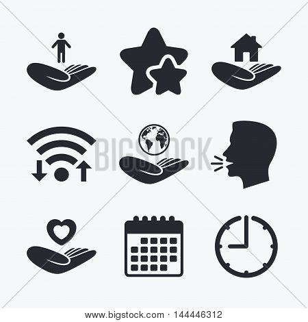 Helping hands icons. Heart health and travel trip insurance symbols. Home house or real estate sign. Wifi internet, favorite stars, calendar and clock. Talking head. Vector