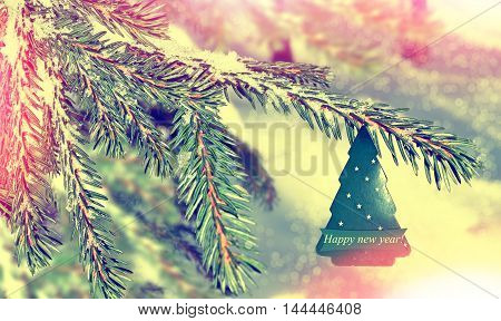 winter landscape and tree. Christmas decorations. toys
