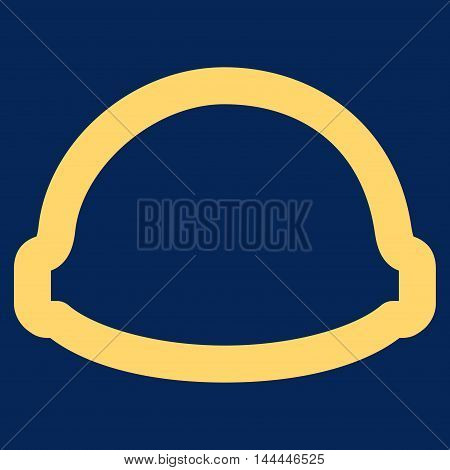 Builder Helmet vector icon. Style is stroke flat icon symbol, yellow color, blue background.