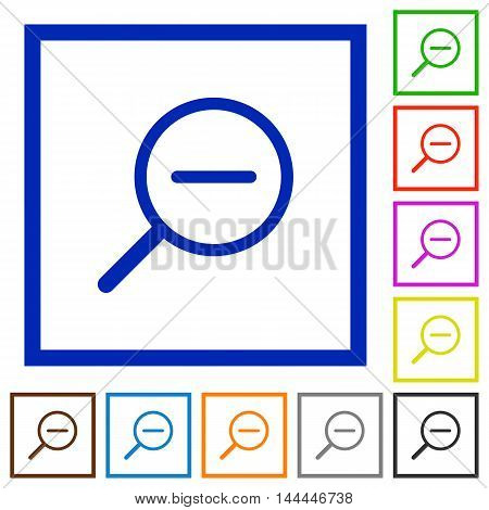 Set of color square framed zoom out flat icons
