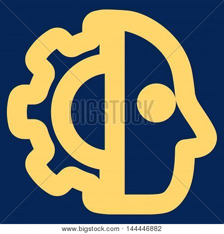 Cyborg vector icon. Style is outline flat icon symbol, yellow color, blue background.