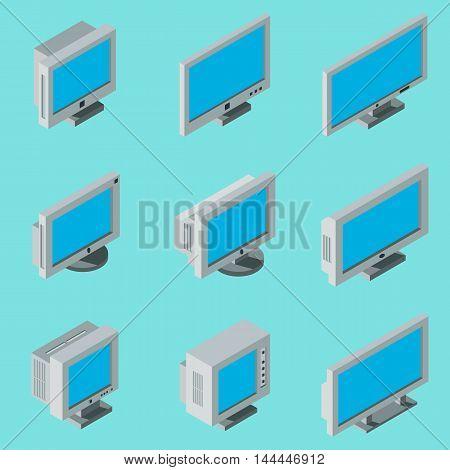 Isometric flat 3d desktop computer monitor icons